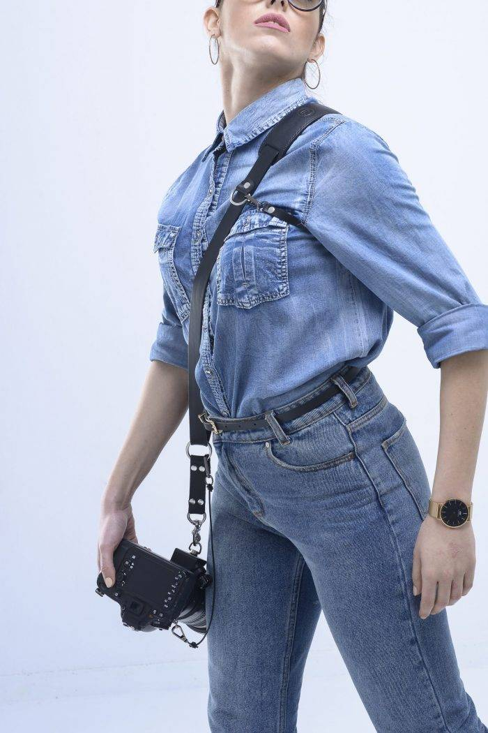 Single Black camera strap