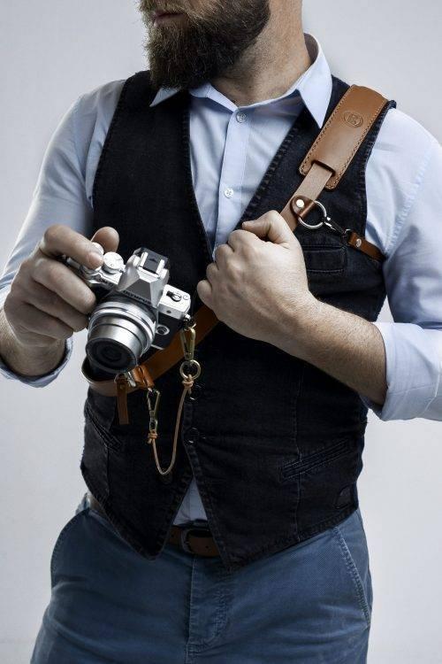 Single Brown camera strap